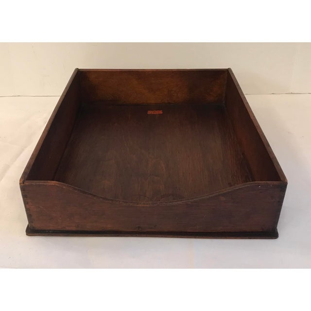 "Brown Vintage Wooden ""In"" Box For Sale - Image 8 of 8"
