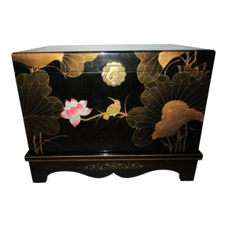 20th Century Chinoiserie Black Lacquered Chest For Sale