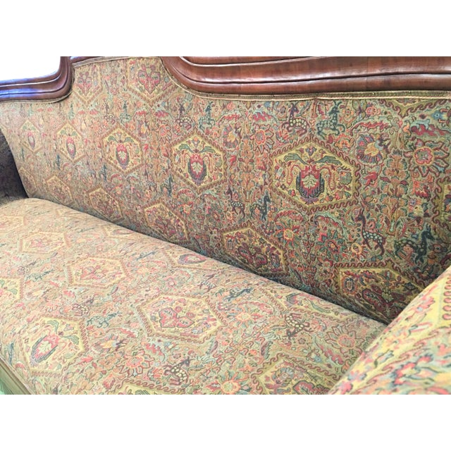 Wood French Carved Walnut Bench, Sofa, Daybed Upholstered in Original Damask For Sale - Image 7 of 10