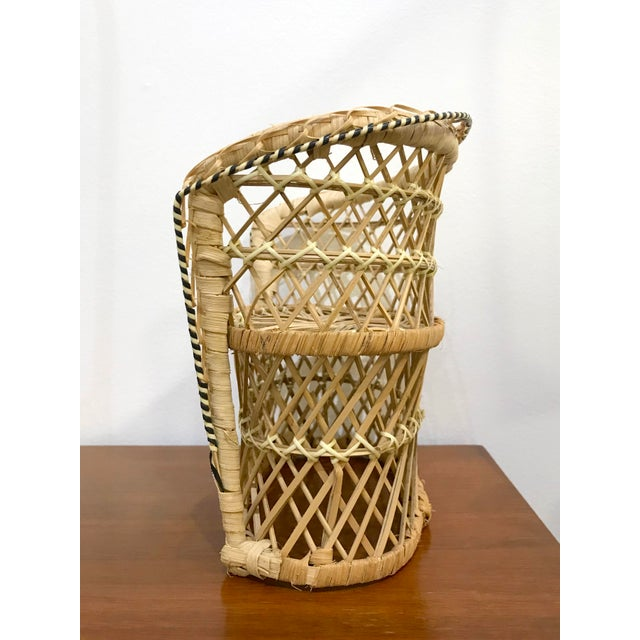 Vintage Rattan Loveseat Plant or Teddy Stand For Sale - Image 4 of 7