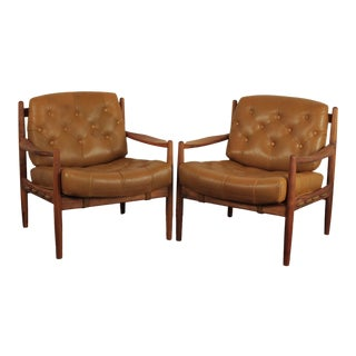 Swedish Arne Norell Style Lounge Chairs - a Pair For Sale