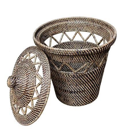 Rattan Basket with Open Weave Design - Image 1 of 3