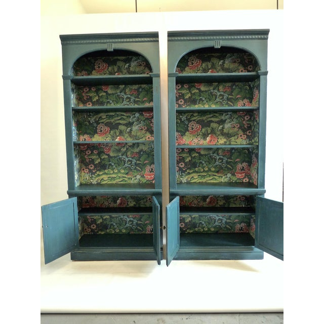 Twice presents two reinvented vintage Ethan Allen bookcases that have been distressed and painted in a rich custom royal...