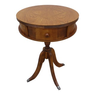 Diminutive One Drawer Inlayed Drum Table For Sale