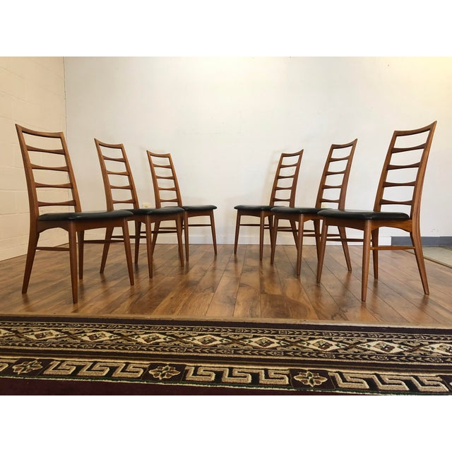 Mid-Century Modern Niels Koefoed for Koefoeds Hornslet Lis Teak Ladder Back Dining Chairs - Set of 6 For Sale - Image 3 of 13