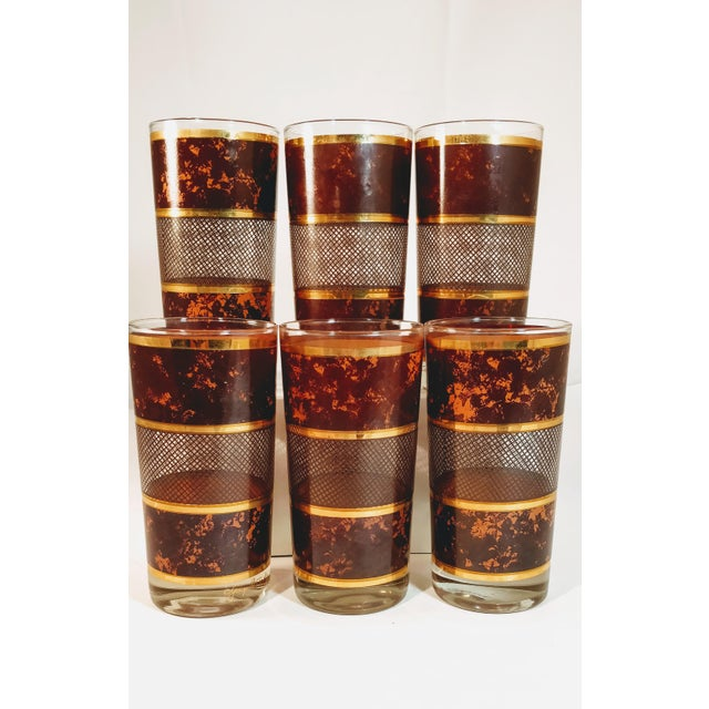 Awesome Briard set of six, in brown shades and 22kt gold stripe design. The pattern is simply gorgeous with a brown...