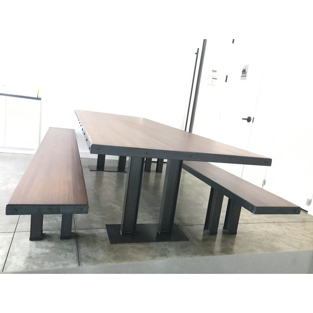 Modern Wood Table & Benches For Sale - Image 9 of 13