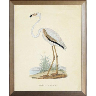 Rosy Flamingo in Distressed Metallic Frame 19x23 For Sale