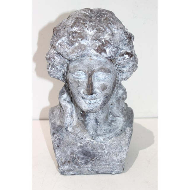 Victorian Vintage Artisan Bust Victorian Girl Long Hair Tied in a Bow For Sale - Image 3 of 10
