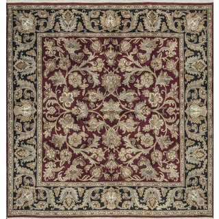"""Traditional Indian Hand Woven Black and Red Wool Rug 108"""" X 109"""""""