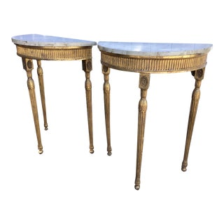 Georgian Gilt Wood Console Tables, a Pair For Sale