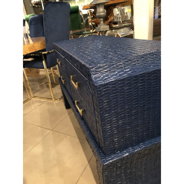 Vintage Blue Lacquered Wicker Brass Credenza Chest Console Table For Sale - Image 9 of 13