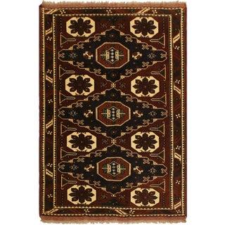 Southwestern Semi-Antique Kargahi Breann Brown/Blue Wool Rug - 5'1 X 5'10 For Sale