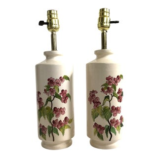Vintage Ceramic Hand Painted Lamps From Central America, Pair For Sale