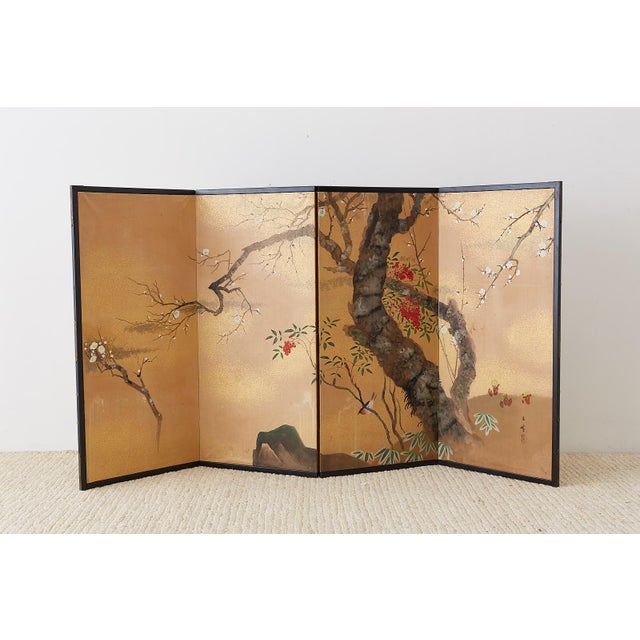 Japanese Four-Panel Screen Prunus Tree With Nandina For Sale - Image 10 of 13