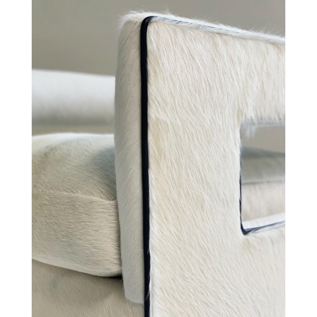 White Cube Lounge Chairs in Brazilian Cowhide - A Pair For Sale - Image 8 of 12