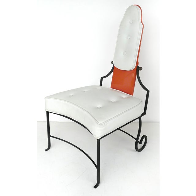 Italian Orange Lacquer Wrought Iron Desk & Chair - 2 Pieces For Sale - Image 10 of 13