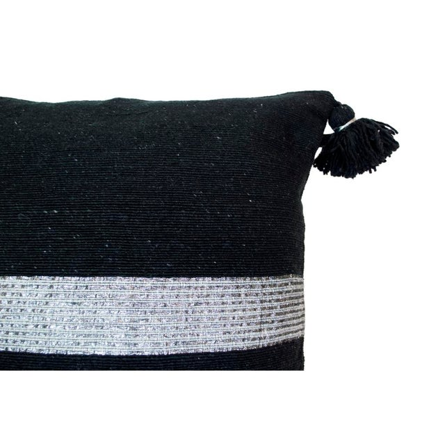 Moroccan Silver on Black Pom Pom Pillow - Image 3 of 4