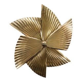 A Curtis Jere Brass Pinwheel Wall Sculpture For Sale