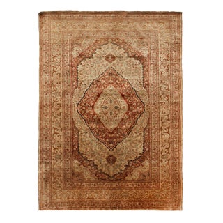 1900s Antique Tabriz Beige and Pink Silk Persian Rug- 4′1″ × 5′8″ For Sale