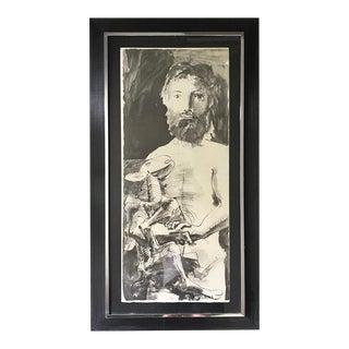 Pablo Picasso Etude Pour l'Homme Au Mouton 'Study for Man With Goat, 1967' Pochoir Stencil Print, Framed For Sale