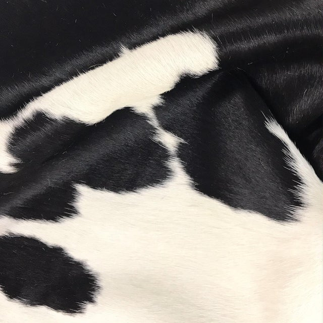 Modern Black and White Brazilian Cowhide Rug For Sale - Image 3 of 4