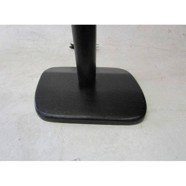 Mid-Century Modern Black Lacquer Carved Wood Floor Lamp For Sale - Image 3 of 8