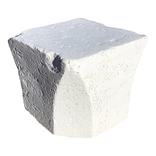 Postmodern Robust Faux Stone Plaster Side Table For Sale