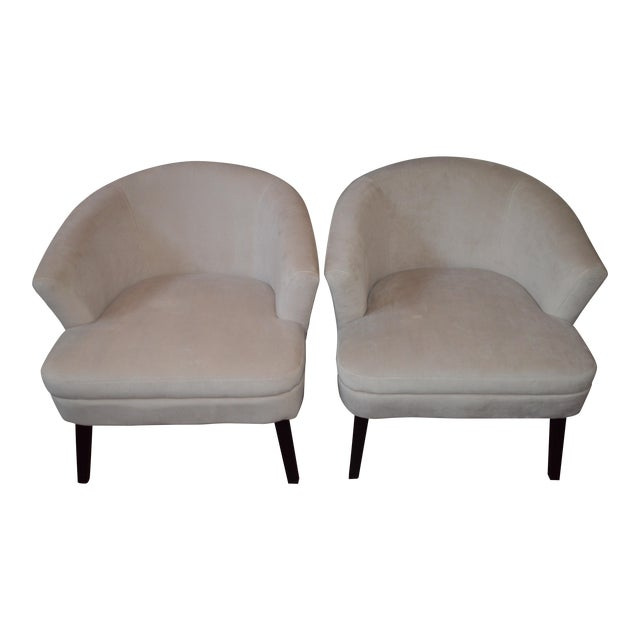 Creme Velveteen Club Chairs - A Pair - Image 1 of 6