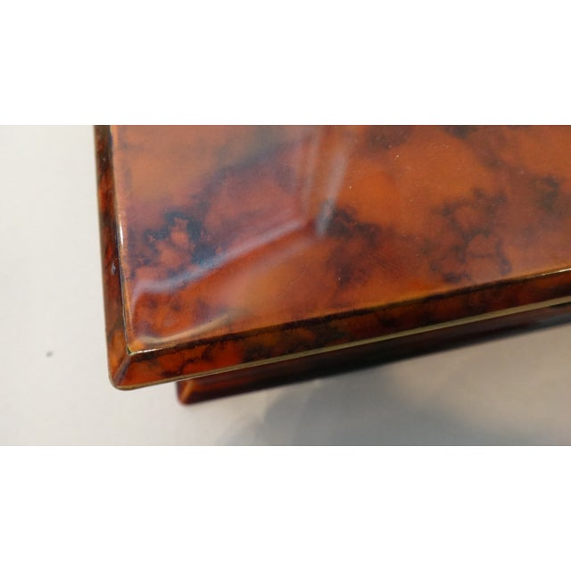 Faux Tortoise Shell Lacquer Desk Box - Image 9 of 10