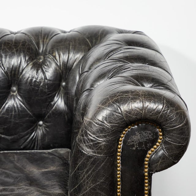 Late 19th Century Chesterfield Oversized Tufted Armchair in Original Black Leather For Sale - Image 5 of 9