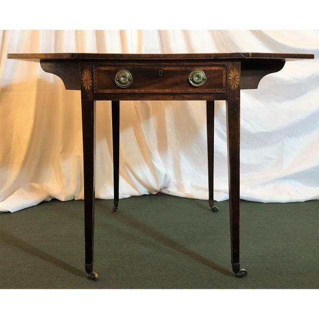 "Antique English Sheraton Pembroke Table, Circa 1790-1800. Open: 40"" Wide x 32"" Deep Closed: 19 1/2"" Wide x 32"" Deep"