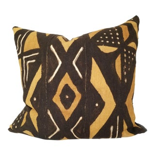 Custom African Mudcloth and Linen Down-Filled Euro Pillow For Sale