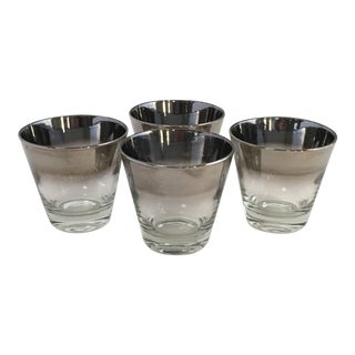 Mid Century Silver Fade Low Ball Cocktail Glasses - Set of 4 For Sale