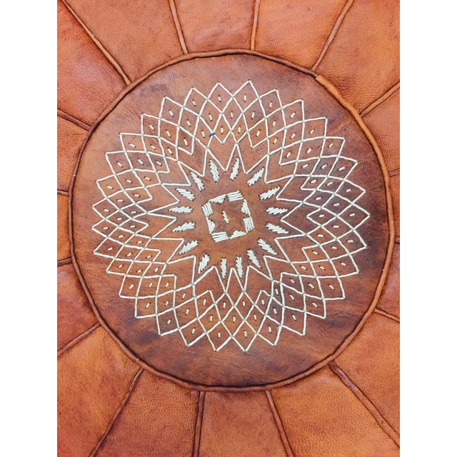 Vintage Moroccan Leather Pouf For Sale - Image 4 of 8