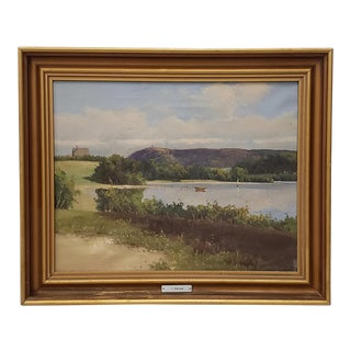 Early 20th Century Country Landscape Oil Painting For Sale