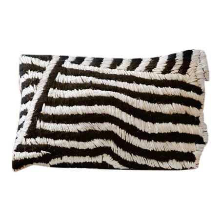 Moroccan Flat-Weave Boucherouite Lumbar Pillow in Black and White - 18 For Sale