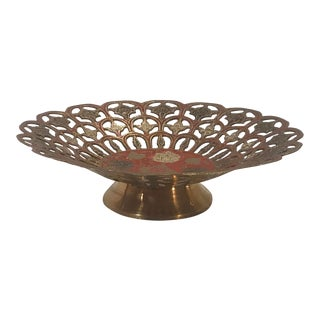 Vintage Pierced Brass and Enamel Bowl For Sale
