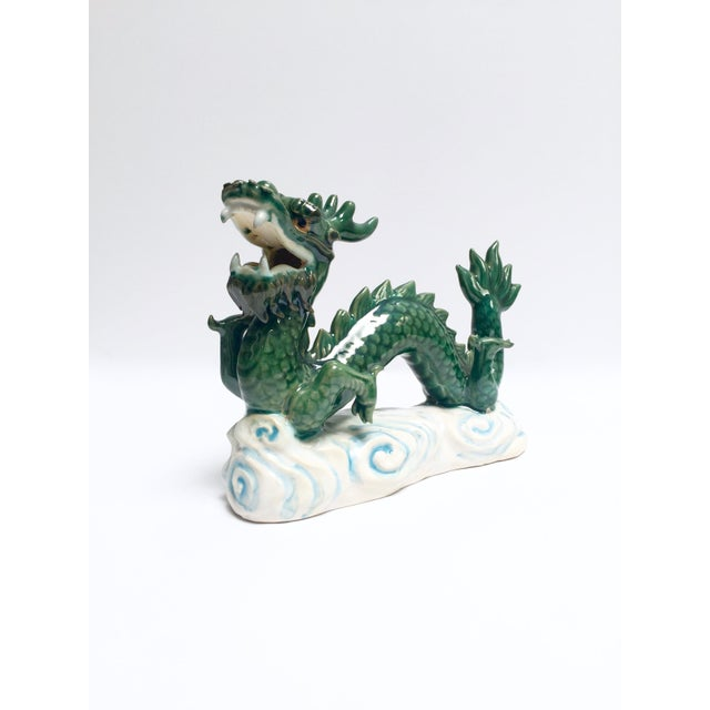 Vintage Hand Painted Ceramic Green Dragon Figurine - Image 2 of 8