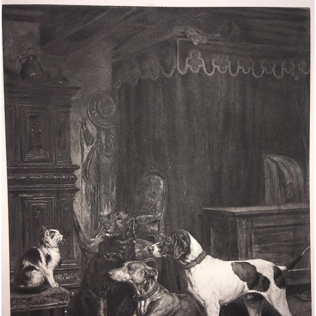 Paper 1883 Antique L E Lambert Dogs & Cat Lithograph Print For Sale - Image 7 of 8