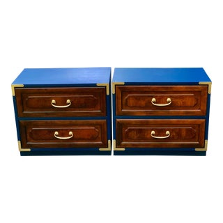 1980s Bernhardt Campaign Style Nightstands - a Pair For Sale