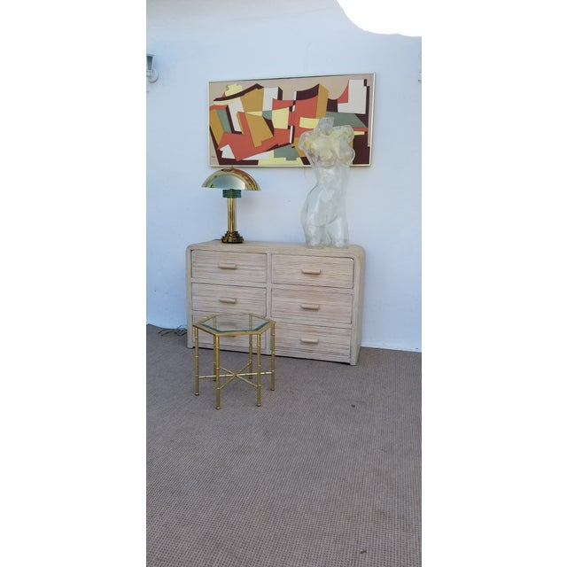 1980s Hollywood Regency Pencil Reed Rattan Cabinet For Sale - Image 11 of 13