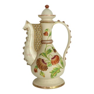 Victorian China Pitcher Attributed to Royal Worcester For Sale