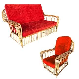 "Restored ""President's"" Art Deco Stick Rattan Living Room Set - 2 Pieces For Sale"