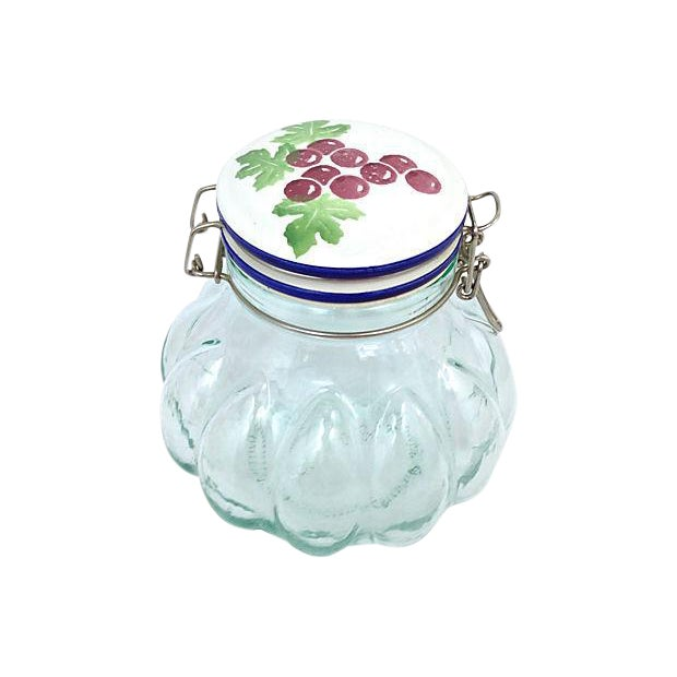 Italian Quilted Glass Canister For Sale
