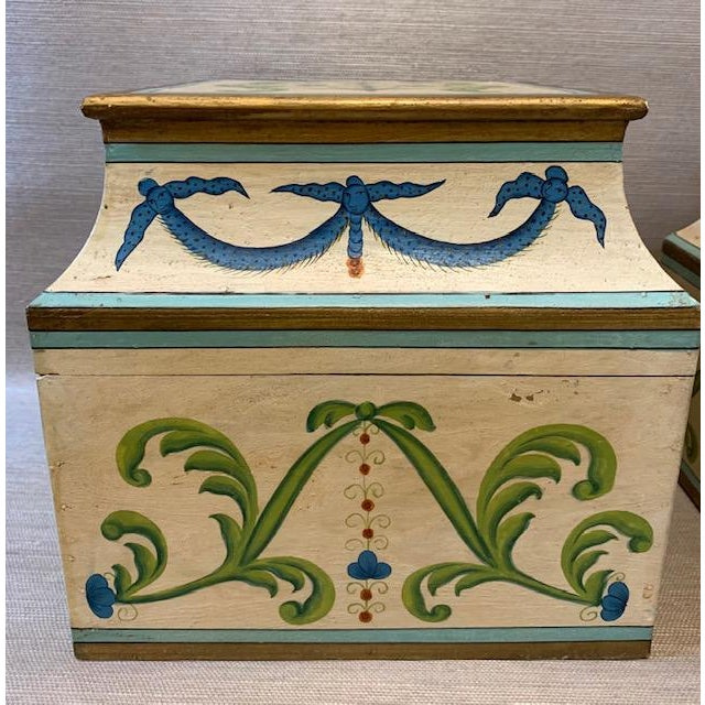 English Antique Italian Leaves and Swags Painted Boxes - Set of 3 For Sale - Image 3 of 11