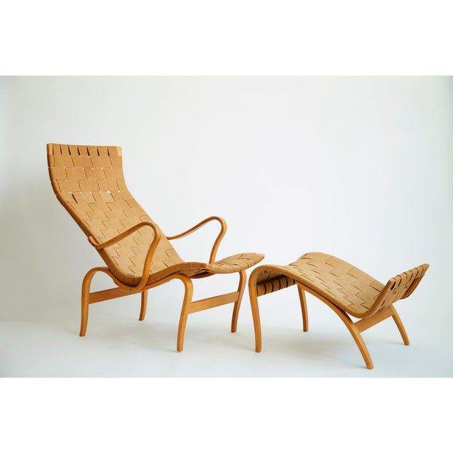 Canvas 1940's Bruno Mathsson Pernilla Lounge Chair and Ottoman For Sale - Image 7 of 8