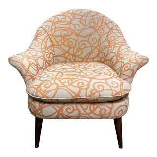 Room & Board Mid-20th Century Style Orange + Champagne Arm Chair For Sale