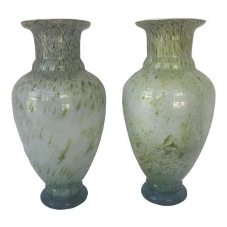 Chinese Green Glass Vases- a Pair For Sale