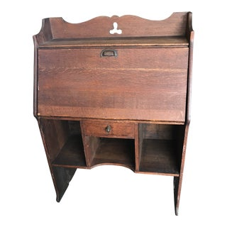 Antique Secretary Desk Signed For Sale
